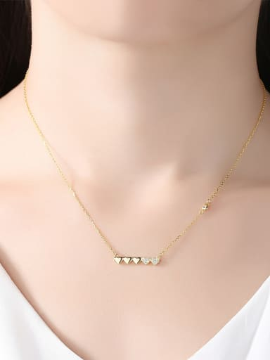 Pure silver 18K-gold plated heart mirco-inlay AAA Zricon Necklace