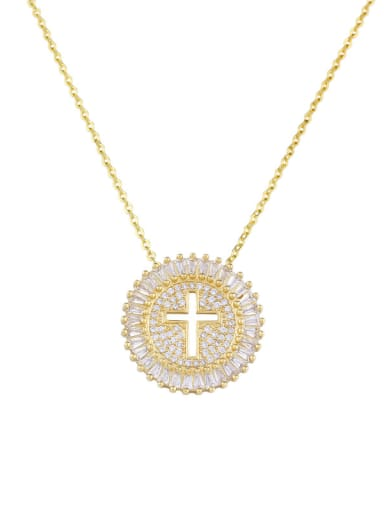 Copper With  Cubic Zirconia Personality Cross Necklaces