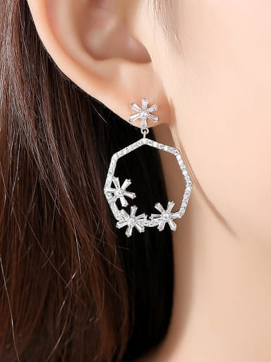 Copper With Platinum Plated Personality Hollow Geometric   Flower Drop Earrings