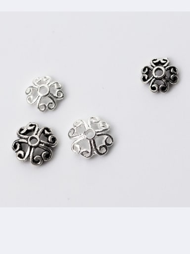 925 Sterling Silver With Antique Silver Plated Vintage Flower Bead Caps