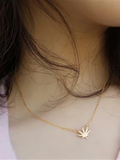Korean Style Leaf Pendant Clavicle Necklace