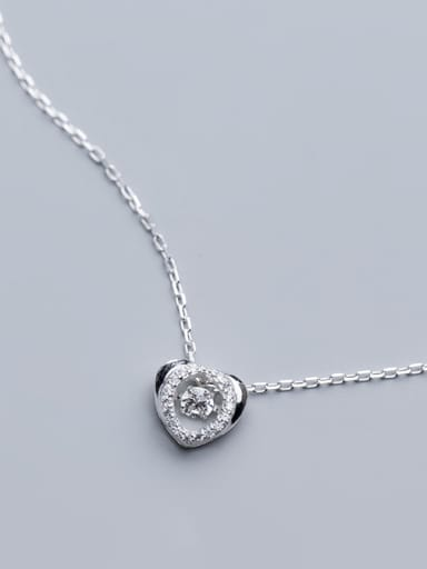 925 Sterling Silver With Silver Plated Simplistic Hollow Heart Necklaces