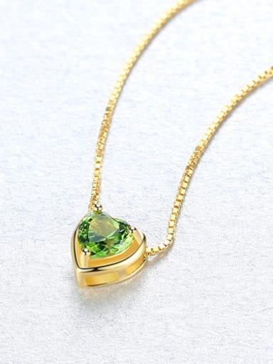 Sterling silver minimalist heart-shaped semi-precious stones necklace