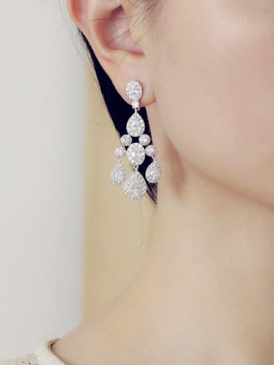 Water Drop Tassel Drop Cluster earring