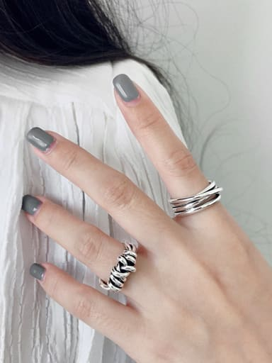 925 Sterling Silver With Antique Silver Plated Weaving Winding Free Size Rings