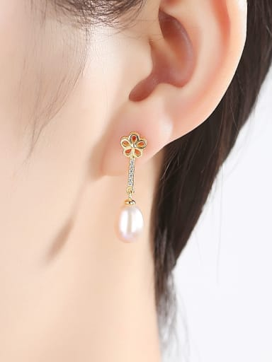 Sterling Silver 8-9mm natural pearl exquisite plum flower Earrings