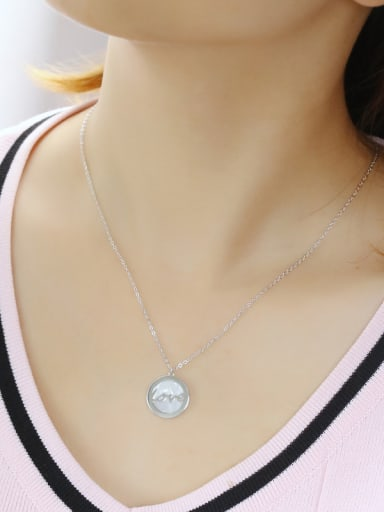 925 Sterling Silver With Shell Simplistic Round LOVE Necklaces