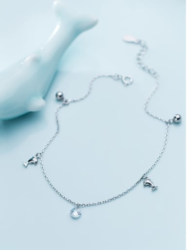925 Sterling Silver With Silver Plated Cute dolphin beads Anklets