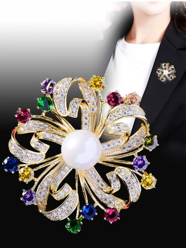 Copper With  Cubic Zirconia Luxury Flower Brooches