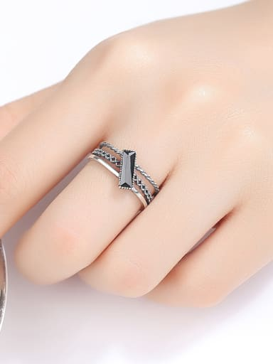Thai Silver With Acrylic  Vintage Geometric Free Size  Rings