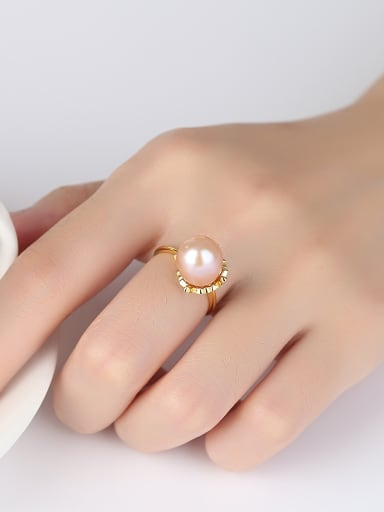 Sterling Silver 10-11mm natural freshwater pearl tulips flower ring