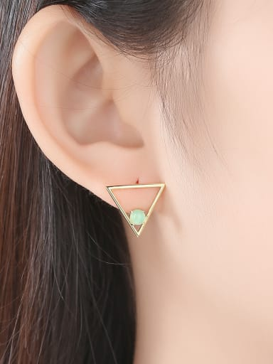 925 Sterling Silver With Opal Simplistic Triangle Stud Earrings