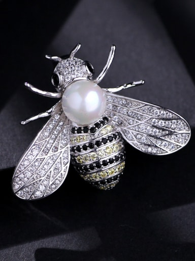 Copper With  Cubic Zirconia Cute Insect honeybee Brooches