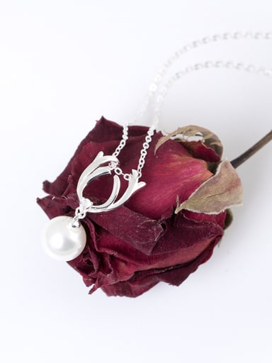 Fashion 925 Silver White Shell Pearl Deer Antlers Necklace