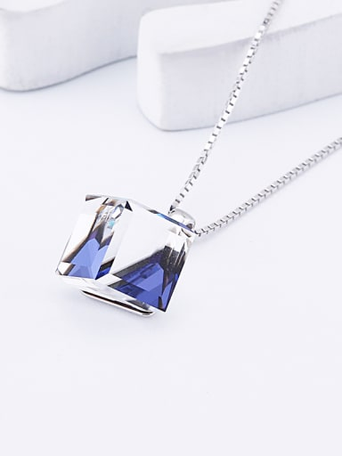 18K White Gold S925 Sterling Silver Crystal Square-shaped Necklace