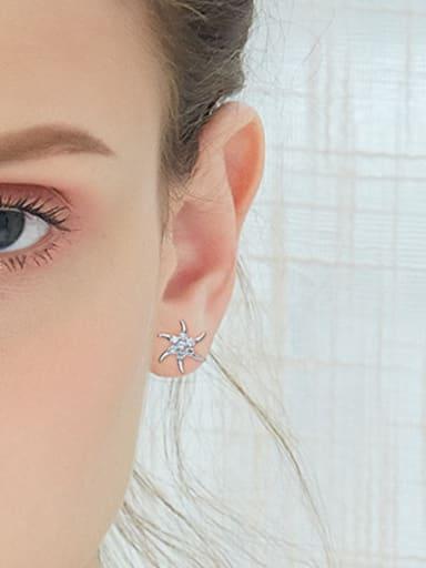 Simple Star Zircon Platinum Plated Stud Earrings
