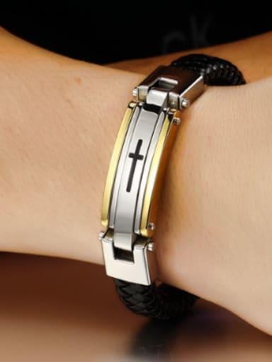 Fashion Cross Titanium Artificial Leather Bracelet