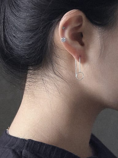925 Sterling Silver With Silver Plated Simplistic round Threader Earrings