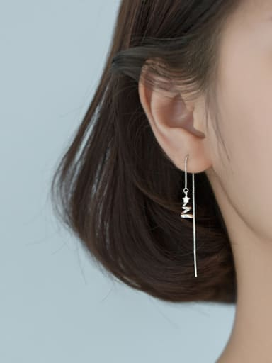 925 Sterling Silver With Smooth  Fashion Star Threader Earrings