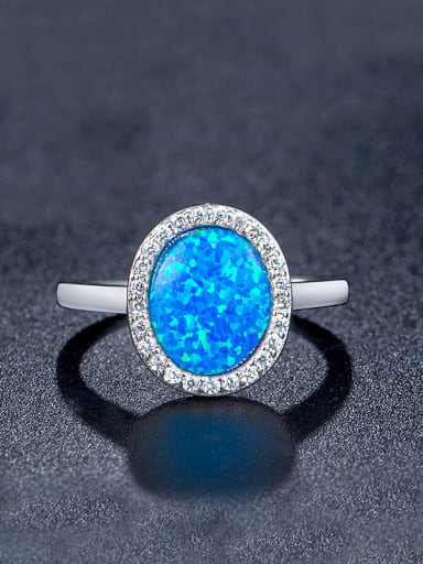 Blue Opal Stone Engagement Ring