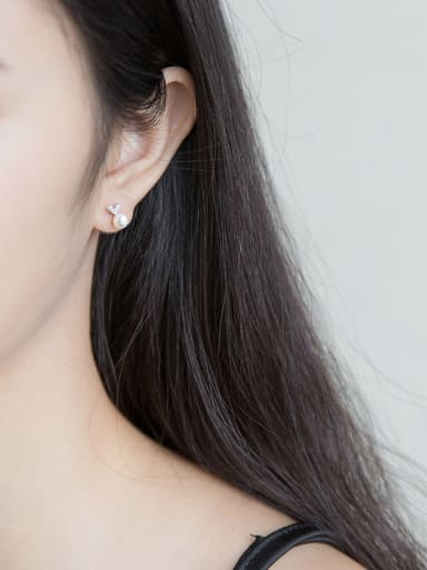 S925 Silver Small zircon Heart-Shaped Shell Pearl stud Earring
