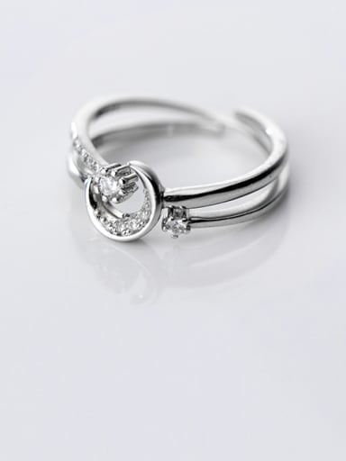 925 Sterling Silver With Cubic Zirconia Simplistic Round Free Size Stacking Rings