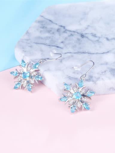 Double Color Glass Snowflake Shaped Earrings