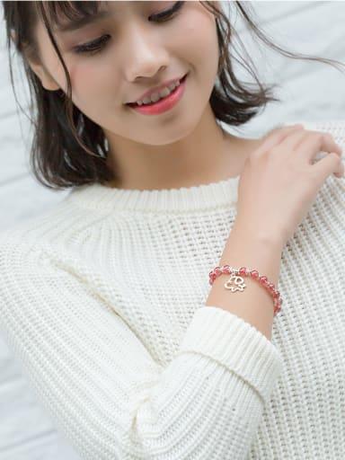 Lovely Dog Shaped Shimmering Crystals S925 Silver Bracelet