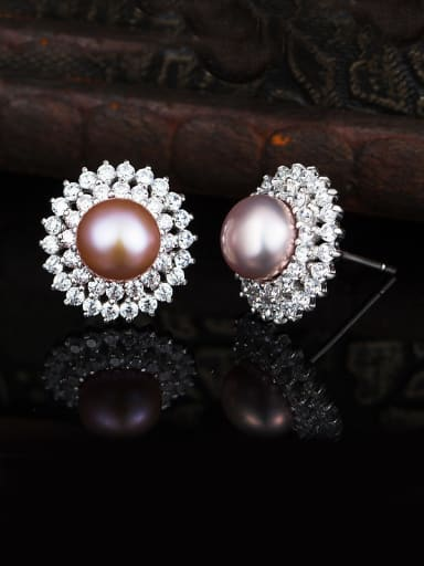 Pink Freshwater Pearl Cluster earring