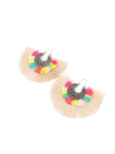 Fan-shaped Colorful Women Tassel Drop Earrings