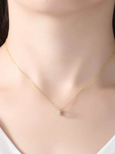 Sterling silver plated 18K gold Zircon Necklace