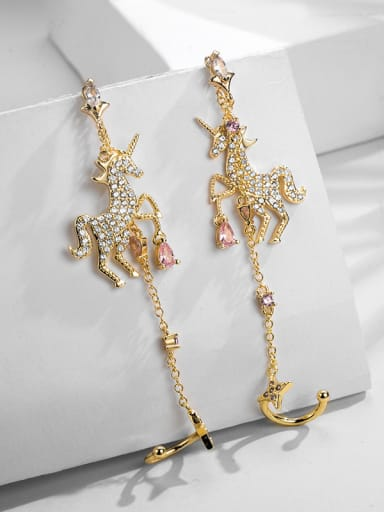Copper With Gold Plated Personality unicorn Long tassel ear clip