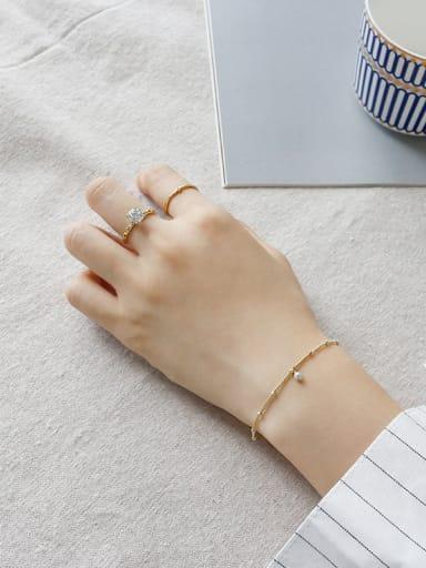 Sterling silver minimalist style gold bracelet