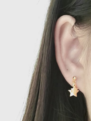 Fashion Double Stars Silver Smooth Stud Earrings