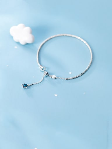 925 Sterling Silver With Platinum Plated Simplistic Star Pendant Bracelets