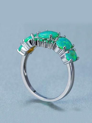 Exaggerated Green Opal Stones Rhinestones Ring