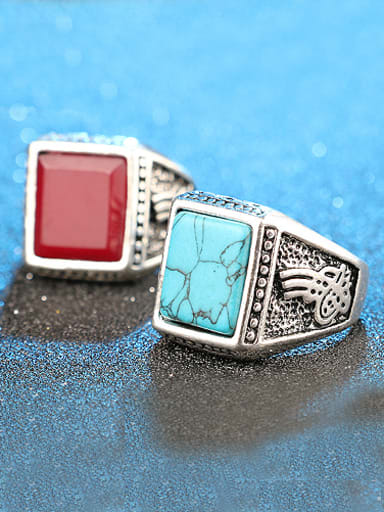Retro style Square Stone Alloy Ring