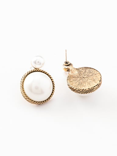 Alloy With Antique Copper Plated Vintage Round Stud Earrings