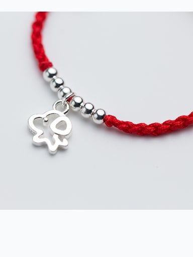 925 Sterling Silver With Silver Plated Simplistic Dog and Hand knitting red rope Add-a-bead Bracelets