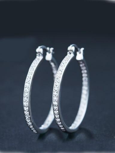 Round Zircon hoop earring