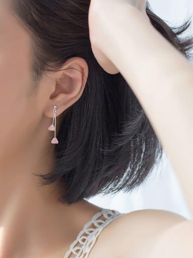 Trendy Pink Water Drop Shaped Crystal S925 Silver Drop Earrings
