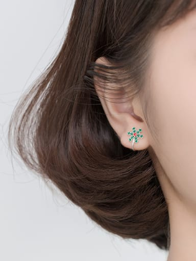 925 Sterling Silver With Platinum Plated Cute Snowflake Ear Clip Without Piercings