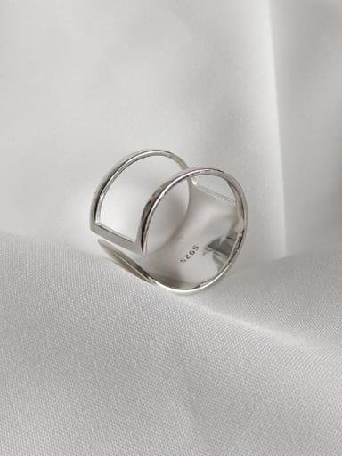 Sterling silver simple plain geometric free size ring