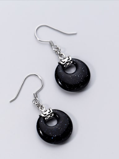 925 Sterling Silver semi-precious stone Classic Oval Hook Earrings