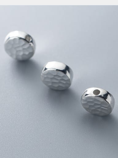 999 Fine Silver With Platinum Plated Simplistic Smooth  Round Beads