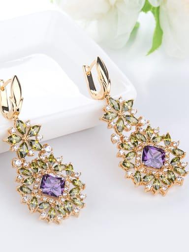 Copper With Cubic Zirconia Luxury Flower Drop Earrings