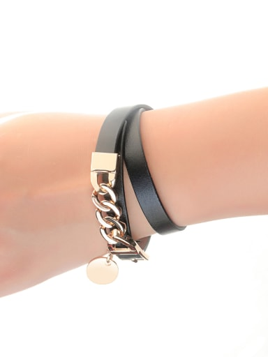 Stainless Steel With Gold Plated Trendy Round Bracelets