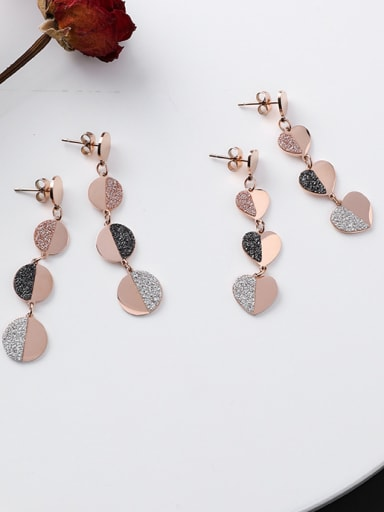 Stainless Steel With Rose Gold Plated Simplistic Round Heart Drop Earrings