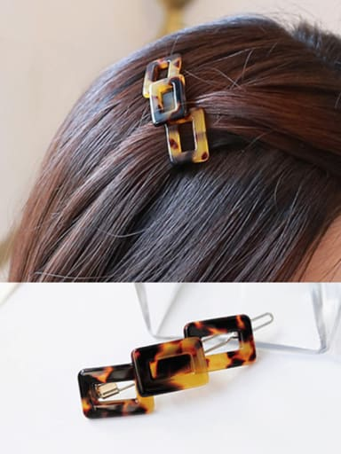Alloy With Cellulose Acetate Fashion  Hollow Geometric Barrettes & Clips