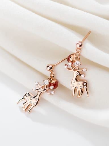 925 Sterling Silver With Rose Gold Plated Cute Elk Drop Earrings